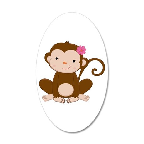 Baby Monkey 35x21 Oval Wall Decal