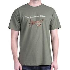 Greyhound Thing Military Green T-Shirt