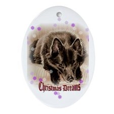 "Schipperke ""Christmas Dreams"" Oval Ornament"