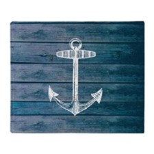 Anchor on Blue faux wood graphic Throw Blanket