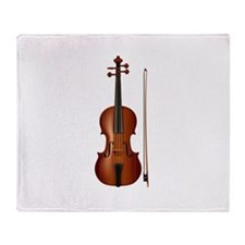 violin and bow Throw Blanket