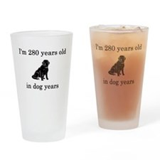 40 birthday dog years black lab Drinking Glass