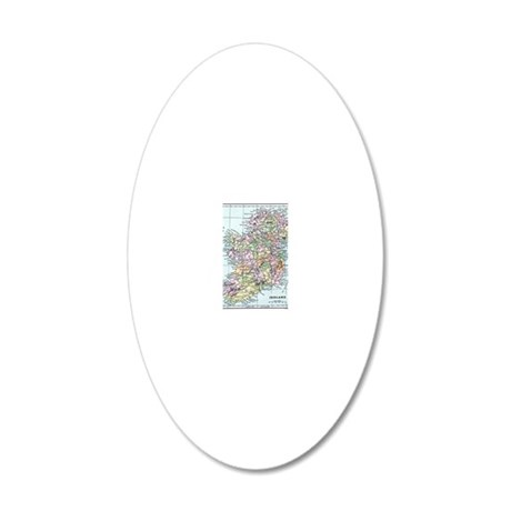 Vintage map of Ireland 20x12 Oval Wall Decal