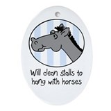 cute horse clean stalls Oval Ornament