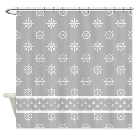 Light Gray White Ship 39 S Wheels Shower Curtain By Hhtrendyhome