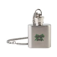 Green Cheer Mom Flask Necklace
