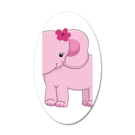 Cute Pink Baby Girl Elephant 35x21 Oval Wall Decal