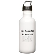 Forex traders do it all night long Water Bottle