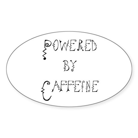 Powered by Caffeine Oval Sticker