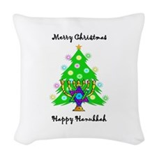 Christmas Hanukkah Interfaith Woven Throw Pillow