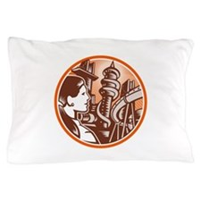 Futuristic City Woman Side Circle Woodcut Pillow C