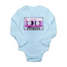 Cassette Tape - Pink Long Sleeve Infant Bodysuit