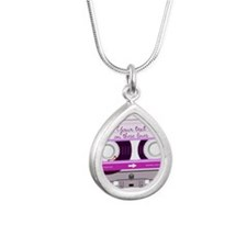Cassette Tape - Pink Silver Teardrop Necklace