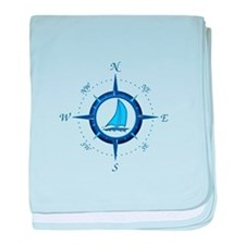 Sailboat And Blue Compass baby blanket