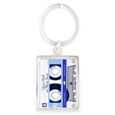 Customizable Cassette Tape - blu Portrait Keychain