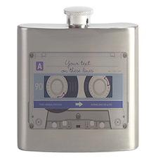 Customizable Cassette Tape - blue Flask