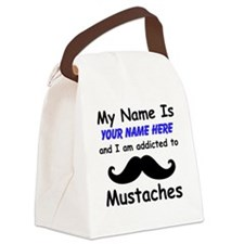 Custom Addicted To Mustaches Canvas Lunch Bag