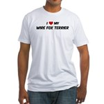 I Love: Wire Fox Terrier Fitted T-Shirt