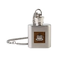 Coffee Words Jumble Print - Brown Flask Necklace