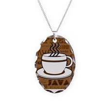 Coffee Words Jumble Print - Brown Necklace