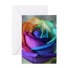 rainbow rose digital floral art Greeting Card