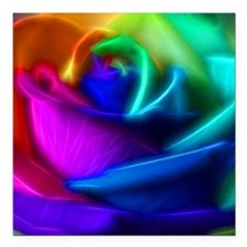"rainbow rose fractal Square Car Magnet 3"" x 3"""