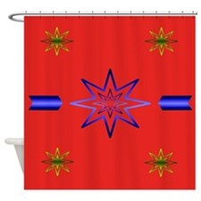 Awakening Star On Red Shower Curtain