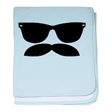 Sunglasses Mustache baby blanket
