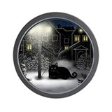 BLACK CAT SNOW CITY Wall Clock