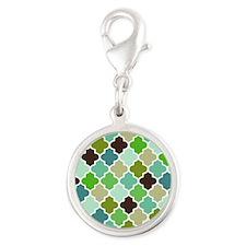 Blue Green Quatrefoil pattern Silver Round Charm