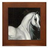 Grey Arabian Horse Framed Tile