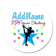 ICE SKATING STAR Round Car Magnet