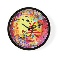 Love Beautiful Asian Face & Flowers Clock