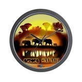 Africa Elephant Safari Clock