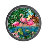 Flamingo Paradise Clock