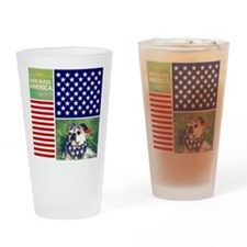 Dog Bless America Drinking Glass