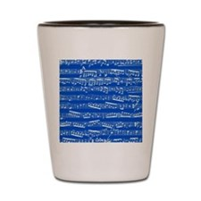 Dark blue music notes Shot Glass