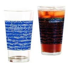 Dark blue music notes Drinking Glass