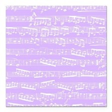 "Purple lilac music notes Square Car Magnet 3"" x 3"""