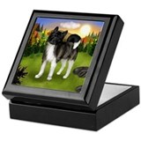 BRINDLE AKITA FALL DAY Keepsake Box