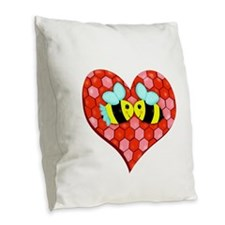Bee Mine Valentine Burlap Throw Pillow