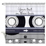 Customizable Cassette Tape - Grey Shower Curtain