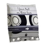 Customizable Cassette Tape - Grey Burlap Throw Pil