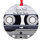 Customizable Cassette Tape - Grey Round Ornament