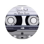 Customizable Cassette Tape - Grey Ornament (Round)