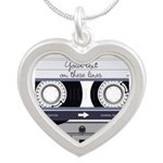 Customizable Cassette Tape - Grey Silver Heart Nec