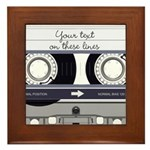 Customizable Cassette Tape - Grey Framed Tile