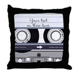 Customizable Cassette Tape - Grey Throw Pillow