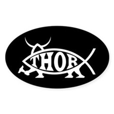 Thor Fish Oval Bumper Stickers