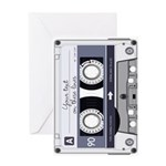 Customizable Cassette Tape - Grey Greeting Card